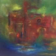 Rotes Haus am See, Öl auf Leinwand, 80 x 80